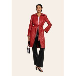 ORSEUND IRIS Red Vegan Leather Trench